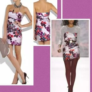 Tibi Multicolor Silk & Wool Floral Strapless Dress